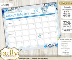 DIY Elephant Boy Baby Due Date Calendar, guess baby arrival date game