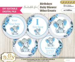 DIY Text Editable Elephant Boy Cupcake Toppers Digital File, print at home, suitable for birthday, baby shower, baptism