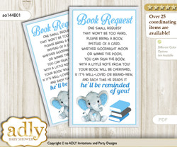 Request a Book Instead of a Card for Elephant Boy Baby Shower or Birthday, Printable Book DIY Tickets, Floral, Blue Gray