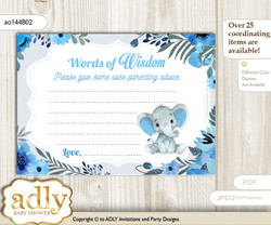 Blue Gray Elephant Boy Words of Wisdom or an Advice Printable Card for Baby Shower, Floral nn