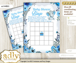 Printable Blue Gray Boy Bingo Game Printable Card for Baby Elephant Shower DIY grey, Blue Gray, Floral  nn