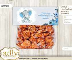 Printable Elephant Boy Treat or Goodie bag Toppers for Baby Elephant Shower or Birthday DIY Blue Gray, Floral nn