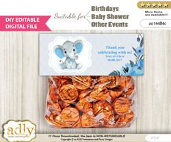 DIY Text Editable Elephant Boy Goodie  Treat Bag Toppers, Favor Bag Digital File, print at home  nn