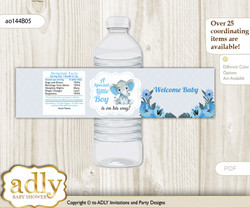 Elephant Boy Water Bottle Wrappers, Labels for a Boy  Baby Shower, Blue Gray, Floral nn