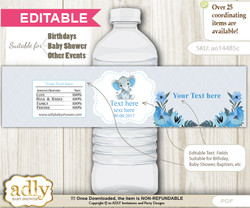 DIY Text Editable Elephant Boy Water Bottle Label, Personalizable Wrapper Digital File, print at home for any event