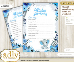 Elephant Boy Wishes for a Baby, Well Wishes for a Little Boy Printable Card, Floral, Blue Gray nn