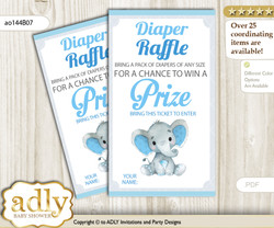 Elephant Boy Diaper Raffle Printable Tickets for Baby Shower, Blue Gray, Floral nn