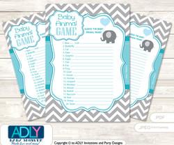 Printable  Boy ElephantBaby Animal Game, Guess Names of Baby Animals Printable for Baby  ElephantShower,  Turquoise,  Chevron