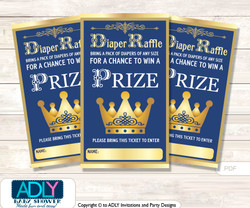 Prince Royal Diaper Raffle Printable Tickets for Baby Shower,  Gold,  Blue