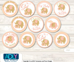 Baby Shower Peach Elephant Cupcake Toppers Printable File for Little Peach and Mommy-to-be, favor tags, circle toppers, Coral, Gold