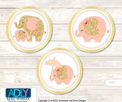 Printable Peach Elephant Candy Kisses for Baby Peach Shower DIY Gold , Coral