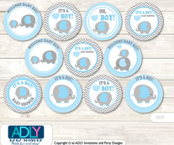 Baby Shower Grey Blue Elephant Cupcake Toppers Printable File for Little Grey Blue and Mommy-to-be, favor tags, circle toppers, Chevron, Boy