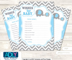 Grey Blue Elephant Wishes for a Baby, Well Wishes for a Little Elephant Printable Card, Chevron, Boy