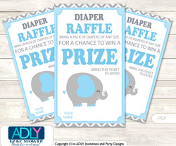 Grey Blue Elephant Diaper Raffle Printable Tickets for Baby Shower, Boy, Chevron