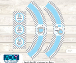 Printable Grey Blue Elephant Cupcake, Muffins Wrappers plus Thank You tags for Baby Shower Boy, Chevron