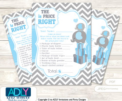 Printable Grey Blue Elephant Price is Right Game Card for Baby Elephant Shower, Boy, Chevron