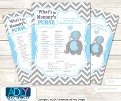 Grey Blue Elephant What is in Mommy's Purse, Baby Shower Purse Game Printable Card , Boy,  Chevron