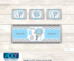 Grey Blue Elephant Chocolate Bar Wrapper and Nuggets Candy Wrapper Label for Baby Grey Blue Shower  Boy , Chevron