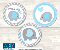Printable  Grey Blue Elephant Candy Kisses for Baby Grey Blue Shower DIY Boy , Chevron