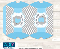 Grey Blue Elephant Pillow Box for Candy, Little Treats or Small Gift of any Baby Shower or Birthday, Boy , Chevron