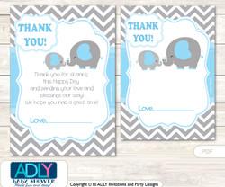 Grey Blue  Elephant Thank you Cards for a Baby Grey Blue Shower or Birthday DIY Boy, Chevron
