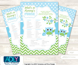 Boy Owl What is in Mommy's Purse, Baby Shower Purse Game Printable Card , Spring,  Blossom