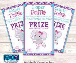 Purple Elephant Diaper Raffle Printable Tickets for Baby Shower, Turquoise, Pink