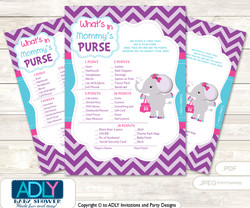 Purple Elephant What is in Mommy's Purse, Baby Shower Purse Game Printable Card , Turquoise,  Pink