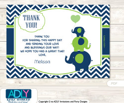Elephant Thank you Printable Card with Name Personalization for Baby Shower or Birthday Party