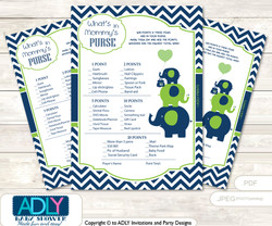 Boy Elephant What is in Mommy's Purse, Baby Shower Purse Game Printable Card , Green,  Blue