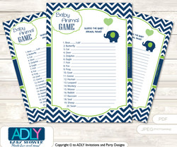 Printable Boy Elephant Baby Animal Game, Guess Names of Baby Animals Printable for Baby Elephant Shower, Green, Blue
