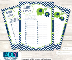 Boy Elephant Baby ABC's Game, guess Animals Printable Card for Baby Elephant Shower DIY –Blue