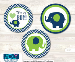 Printable  Boy Elephant Candy Kisses for Baby Boy Shower DIY Green , Blue