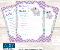 Purple Elephant Wishes for a Baby, Well Wishes for a Little Elephant Printable Card, Chevron, Chevron