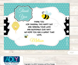 Neutral Bee Thank you Printable Card with Name Personalization for Baby Shower or Birthday Party