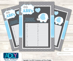 Boy Elephant Baby ABC's Game, guess Animals Printable Card for Baby Elephant Shower DIY –Chevron