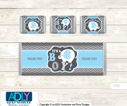 Boy Elephant Chocolate Bar Wrapper and Nuggets Candy Wrapper Label for Baby Boy Shower  Blue Grey , Chevron