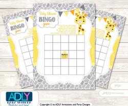 Printable Grey Yellow Giraffe Bingo Game Printable Card for Baby Neutral Shower DIY grey, Grey Yellow, Safari