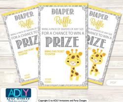 Neutral Giraffe Diaper Raffle Printable Tickets for Baby Shower, Grey Yellow, Safari