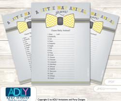 Printable Little Man Bow Tie Baby Animal Game, Guess Names of Baby Animals Printable for Baby Bow Tie Shower, Yellow Grey, Chevron