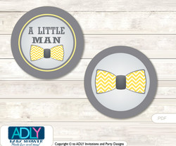 Printable  Little Man Bow Tie Candy Kisses for Baby Little Man Shower DIY Yellow Grey , Chevron