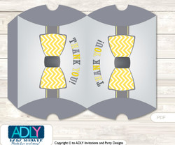 Little Man Bow Tie Pillow Box for Candy, Little Treats or Small Gift of any Baby Shower or Birthday, Yellow Grey , Chevron