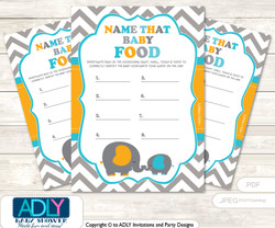 Boy Peanut Guess Baby Food Game or Name That Baby Food Game for a Baby Shower, Teal Orange Chevron