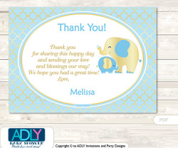 Boy Elephant Thank you Printable Card with Name Personalization for Baby Shower or Birthday
