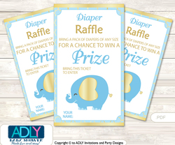 Boy Elephant Diaper Raffle Printable Tickets for Baby Shower, Baby Blue, Gold