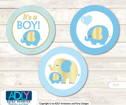 Printable  Boy Elephant Candy Kisses for Baby Boy Shower DIY Baby Blue , Gold