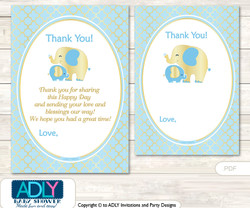 Boy  Elephant Thank you Cards for a Baby Boy Shower or Birthday DIY Baby Blue, Gold