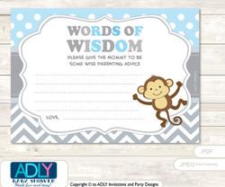 Grey  Boy Monkey Words of Wisdom or an Advice Printable Card for Baby Shower, Chevron