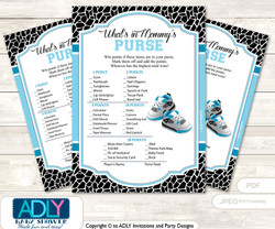Sneakers Jumpman What is in Mommy's Purse, Baby Shower Purse Game Printable Card , Black,  MVP