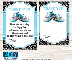 Sneakers  Jumpman Thank you Cards for a Baby Sneakers Shower or Birthday DIY Black, MVP